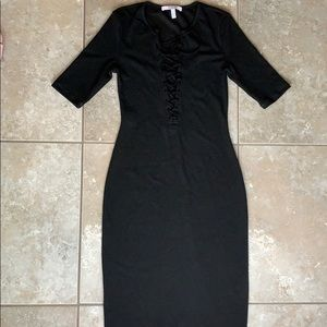 Black knit lace up midi dress